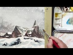 How to watercolor landscape painting of Snowy Day - YouTube