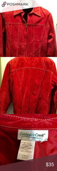 Coldwater Creek Red Suede Jacket Perfect condition. No size tag, so I have shown measurements and Coldwater Creek size charts. Although the bust (48) reflects a 2X, this fits more like a 1X. Coldwater Creek Jackets & Coats