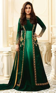 Buy online #Green Heavy #Embroidered Floor Touch #Suit (SKU Code : SUEBRVF6181) at Ishimaya Fashion.