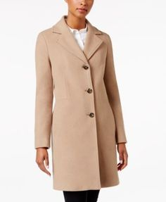 Calvin Klein Wool-Cashmere-Blend Notch Collar Walker Coat