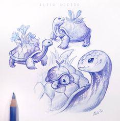 Cute Cartoon Drawings, Cartoon Sketches, Cute Kawaii Drawings, Cute Animal Drawings, Fantasy Drawings, Fantasy Art, Art Drawings, Fantasy Wesen, Turtle Sketch