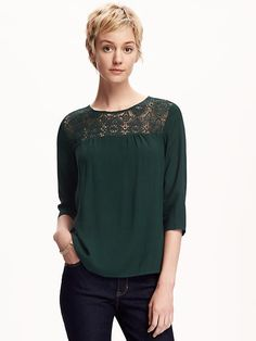 Deep colored lace top - will be special enough for work and church, but can also be dressed down