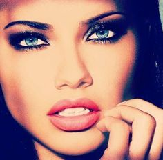 Gorgeous makeup, Adrianna Lima,Victoria Secret model maybe bold look makeup. may be a bit too heavy for selling lingerie. Focus needs to be on the lingerie not the sexy aspect of a woman in lingerie. but a balance is needed.