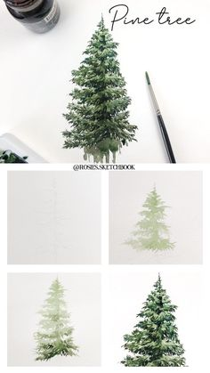 Pine Tree Art Tutorial Mini tutorial of a pine tree painting with step by step process photos. Watercolor Painting Techniques, Acrylic Painting Lessons, Painting & Drawing, Artist Painting, Pine Tree Painting, Pine Tree Art, Watercolor Trees, Watercolor Paintings, Christmas Paintings