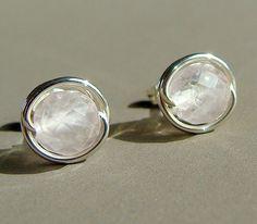 6mm Faceted Rose Quartz Studs Post Earrings in by phoebestreasure, $12.00