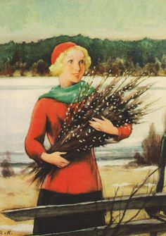 Vintage Winter - Rudolf Koivu - Also see N. Vintage Christmas Cards, Christmas Images, Vintage Holiday, Vintage Winter, Vintage Cards, Inspiration Art, 6 Photos, Pictures, Paintings I Love