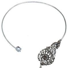 Collier Torque Print & Diamond (argenté), Lotta Djossou