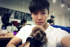 Donghae with puppy