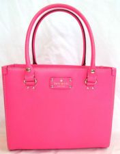 NWT NEW Authentic Kate Spade Wellesley Leather Quinn Gulabi Pink Bag Purse Tote (off ebay)