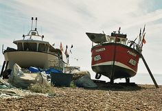 Fishing boats on the beach, Hastings UK