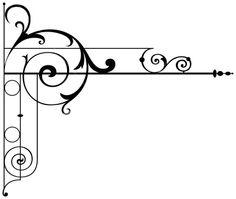 corner scrolls with lines