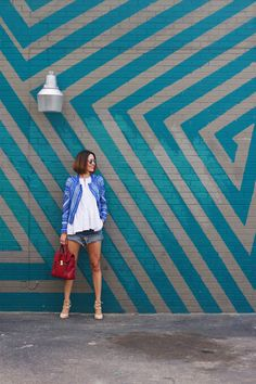 Teal Zig Zag Wall the parking lot of Pavement Clothing, 1657 Westheimer Rd., Houston, TX 77098
