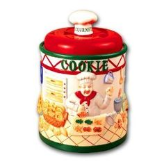 Amazon.com: Ceramic Chef Kitchen Table Top Cookie Jar Canister: Kitchen & Dining