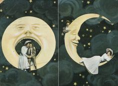 Spooning in the Moon! 1910s Postcard