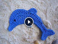 Tutorial video - Delfino applicazione all'uncinetto - Dolphin crocheted applique - Dolphin apliques de ganchillo