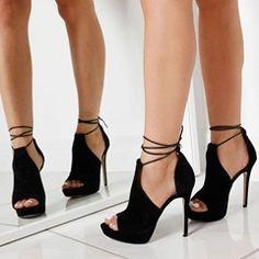 Pin by ray gilday on shoes zapatos, zapatos de tacones, tacos zapatos. Platform High Heels, Black High Heels, High Heel Boots, Shoe Boots, Lace Up Heels, Peep Toe Heels, Pumps Heels, Stiletto Heels, Heeled Sandals