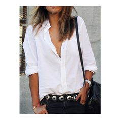 White Lapel Long Sleeve Buttons Blouse (830 RUB) ❤ liked on Polyvore featuring tops, blouses, white, slimming tops, button top, white long sleeve blouse, button blouse and white long sleeve top