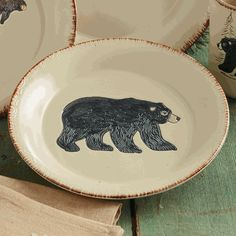 Bear \u0026 Moose Stoneware Bear Salad Plate · Stoneware DinnerwareBlack ... & Bear \u0026 Moose Stoneware Bear Mug | Family Room / Kitchen / casual ...