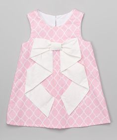 This Pink Quatrefoil Big Bow A-Line Dress - Infant & Toddler by Caught Ya Lookin' is perfect! #zulilyfinds