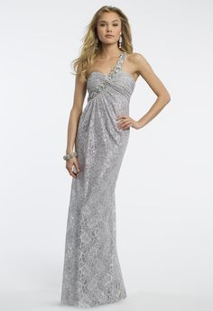 Camille La Vie Metallic Lace One Shoulder Prom Dress