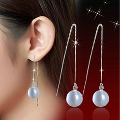 2017 Top Quality! Fashion Star Style Silver Plated Opal Natural Stone Fashion Super Long Drop Dangle Earrings Ear Studs 10 mm