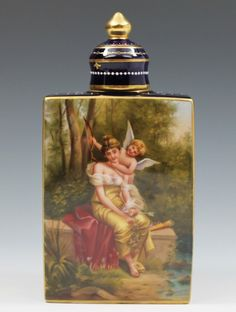 Royal Vienna Style Hand Painted Porcelain Tea Caddy Signed A Keer Beehive Mark