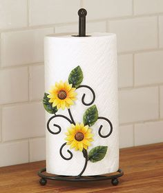Sunflower Paper Towel Holder Kitchen Table Counter Home Country Green Leaf  Decor