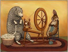 Spinning and Knitting  Sheep and Bunny Signed Art by toadbriar, $22.00