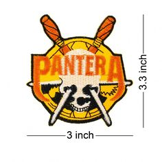PANTERA Rock Band logo embroidered patch. Come with glue paper on back  side. Easy 92eca2c3a96e
