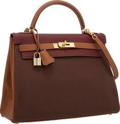 Hermes Special Order 32cm Rouge H, Havane & Gold Togo Leather Retourne Kelly Bag with Gold Hardware