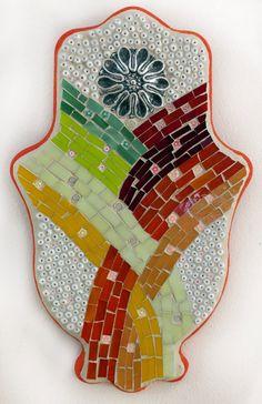 Hamsa Wall Art Stained glass mosaic art hamsa by Sigalitarts