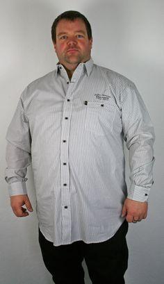 *3 Kamro Hemd Langarm 23308-267 3-8XL weiß/schwarz