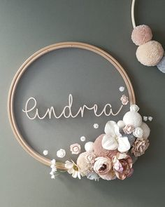 Flower Name Sign Wreath - Custom To Order Make your wall beautiful with this soft and boho floral wreath! Perfect for any room! The base is a natural wooden hoop made of artificial flowers and pom pom Diy Crafts To Sell, Home Crafts, Diy Room Decor, Nursery Decor, Flower Names, Floral Hoops, Wooden Hoop, Creation Deco, Dusty Blue