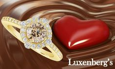Satisfy her sweet tooth this year with this chocolate beauty. Rich 14K yellow gold with .88tcw of brilliant chocolate a white diamonds.  Luxenberg's... We want to be your Jeweler!  www.luxenbergs.com
