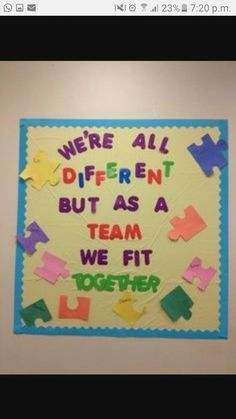 Bulletin Board #1 - This points out the fact that we are all different, and that it is okay to not have the same similarities as someone because variety is good.