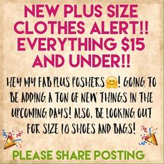 NEW PLUS SIZE CLOTHING! TAG other Plus Poshers!🎉 I am going through my closet and getting ready to add a lot of new items. I will include pictures of me with the clothes on that fit appropriately. Some items will be NWT,NWOT, and worn once or twice. Smoke free home and everything is clean the same way I would want my clothes to be if I purchased something. 😊 Dresses
