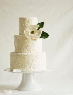 2015 Wedding Cake Trends: Clean and elegant white on white cakes   White on white wedding cakes have also been appearing more frequently amongst cake decorators and they definitely evoke a wonderfully refined feel. This color and style trend is perfectly fitting for more lace and floral driven wedding designs.