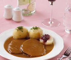 Larded beef roast in root cream sauce with Waldviertel dumplings Freshly cooked – Typical Miracle Austrian Recipes, Roast Beef, Dumplings, Food And Drink, Low Carb, Stuffed Peppers, Diet, Cream, Carne Asada
