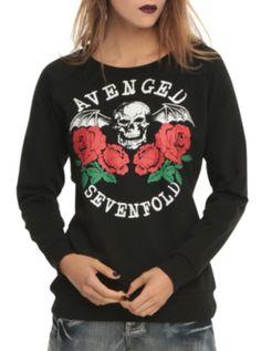 Avenged Sevenfold Death Bat Roses Pullover Top