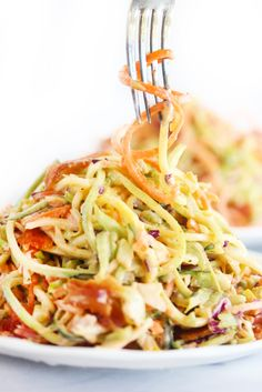 This Chipotle Slaw is smoky and spicy and made special with spiralized veggies! It's gluten-free and paleo and the perfect slaw to serve at a BBQ. Slaw Recipes, Paleo Recipes, Dinner Recipes, Cooking Recipes, Cooking Ideas, Dinner Ideas, Summer Slaw, Summer Food, Lexi's Clean Kitchen