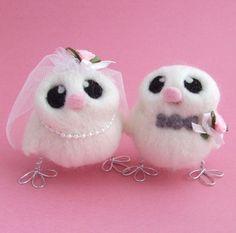 Liebe Vögel Hochzeitstorte Topper grau und Rosa von feltmeupdesigns