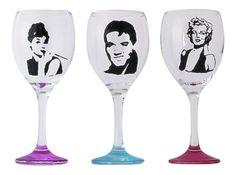 Elvis, Marilyn Monroe, Audrey Hepburn Hand Painted Personailsed Wine Glass