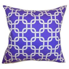 """Showcasing a chic palette and artful design, this beautifully crafted pillow offers an eye-catching focal point for your sofa and adds a plush touch to your favorite arm chair.   Product: PillowConstruction Material: Cotton cover and 95/5 down fillColor: Purple and whiteFeatures:  Insert includedHidden zipper closureMade in the USA Dimensions: 18"""" x 18""""Cleaning and Care: Spot clean"""