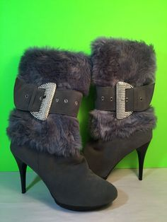 Selina Summer Rio Boots Gray Fur Bling Faux Suede Stilettos Size: 9M #Selina #MidCalfBoots #Casual