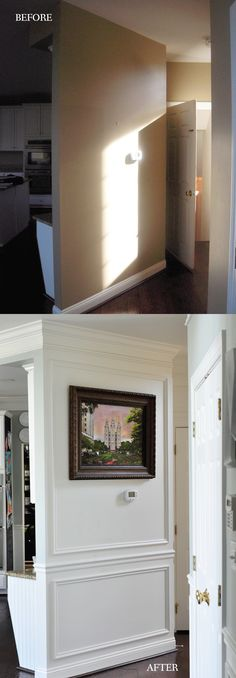 This is possibly the simplest but most WOW factor before and after. Just some DIY trim work and a fresh coat of paint. She has tips for doing it yourself, too!