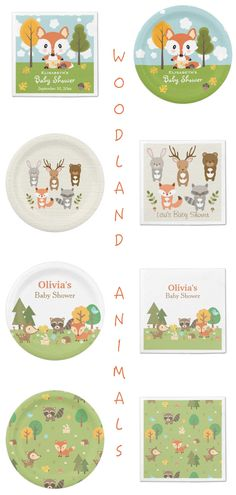 Gender Neutral Woodland Animals Baby Shower Party Supplies | PartyIdeaPros.com