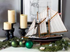 Model Sailboat Decor - Coastal Christmas Decorations | HGTV