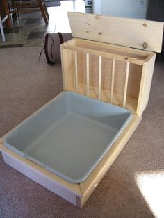 Made from pet safe kiln dried Pine this hay feeder / litter pan combo is perfect for your buns. The overall dimensions are about 16 tall 18 wide and Bunny Cages, Rabbit Cages, House Rabbit, Rabbit Toys, Pet Rabbit, Indoor Rabbit Cage, Rabbit Litter Box, Rabbit Feeder, Guinea Pig Hutch