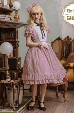 Unideer -Memory of Floria- Vintage Classic Lolita OP Dress (Lace Fabric Version),Lolita Dresses, Black One Piece Dress, Op One Piece, Harajuku Fashion, Kawaii Fashion, Chiffon Fabric, Lace Fabric, Girls Petticoat, Gothic Lolita Fashion, Japanese Street Fashion