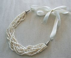 Pearl Necklace Strand Necklace Bib Pearl by Lavenderfields62, $85.00